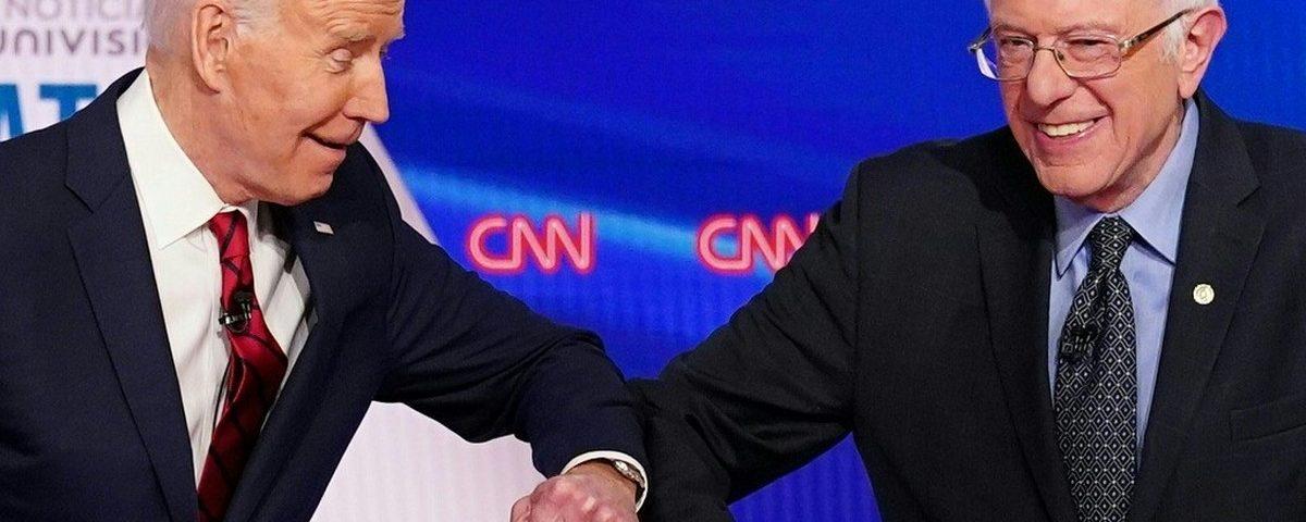 Bernie Sanders anuncia seu apoio à candidatura de Joe Biden à presidência dos EUA. EUA
