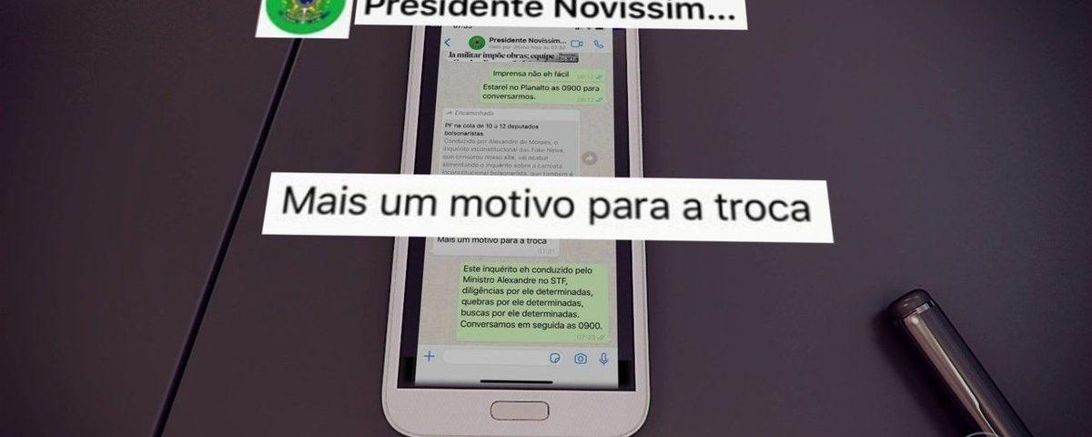 Moro mostra a troca de mensagens em que Bolsonaro pede uma mudança no comando PF