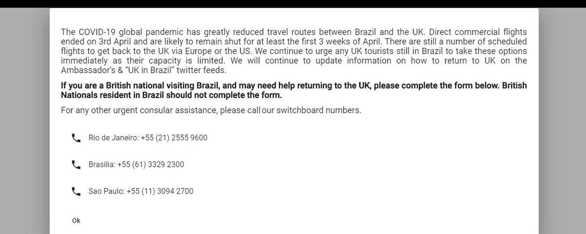 """O embaixador britânico pede aos britânicos no Brasil que retornem """"imediatamente"""""""