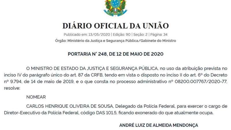 O governo confirma o ex-superintendente do RJ como número 2 do FP