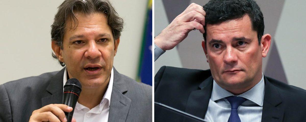 Haddad: Moro não sabe se renuncia a Bolsonaro por não se incriminar